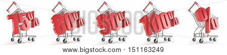 75% 80% 90% 100% % ercent discount in front of shopping cart. Sale concept. 3D render illustration isolated on white background