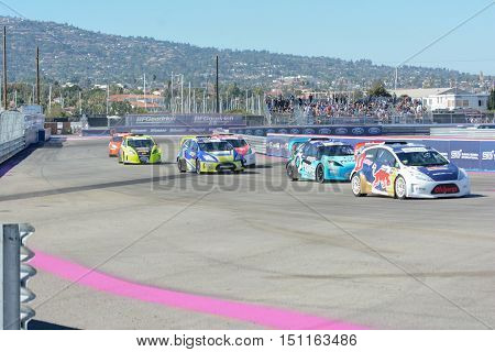 Drivers Battle For Position During The Red Bull Global Rallycross
