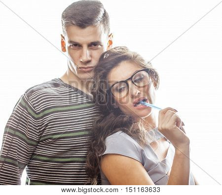 love affair at work, young pretty couple, man and woman together isolated on white background, office clerk, secretary seduces boss, lifestyle concept close up poster