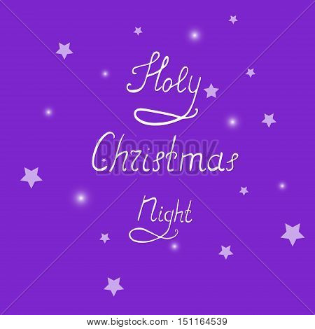 Handwritten Christmas Lettering on the Background with Stars and Light Spots. Vector EPS 10