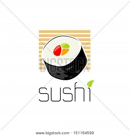 sushi food abstract logo design on white background