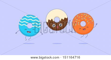 Three kawaii donuts jumping and having fun.