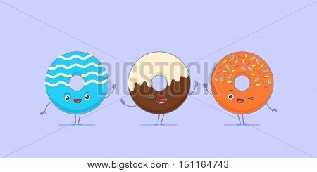 Three kawaii donuts waving their hands and greeting.