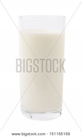Tall glass of milk isolated over the white background