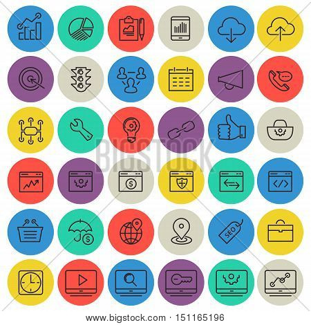 Simple thin line SEO icons on bright colored circle buttons
