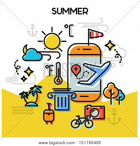 Weather and seasonal conceptual banners for mobile apps. Summer. Line bold design vector illustration online web banner