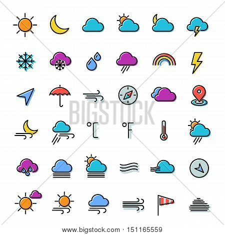 Modern flat weather line thin colored icons