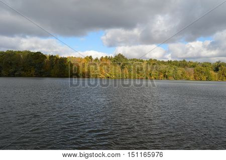Half Moon Lake in Carson Park in  Eau Claire Wisconsin the beginning of fall