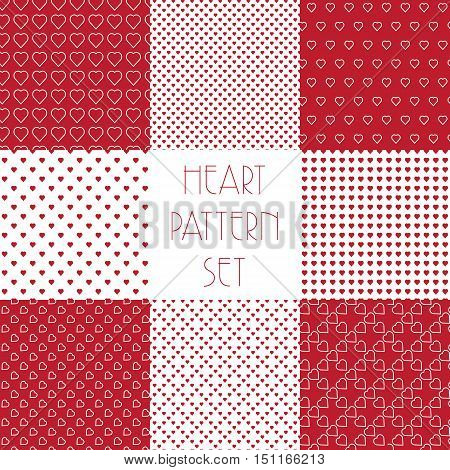 8 Heart shape vector seamless patterns. Red color. Various Valentines day background for invitation or cards. Simple geometric texture with hearts.