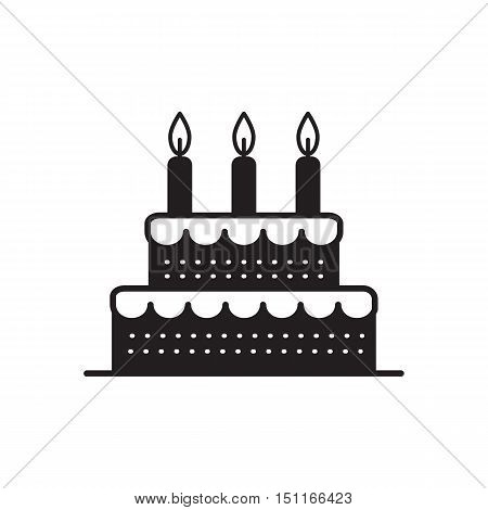 Vector cake icon design element. Birthday cake isolated illustration.