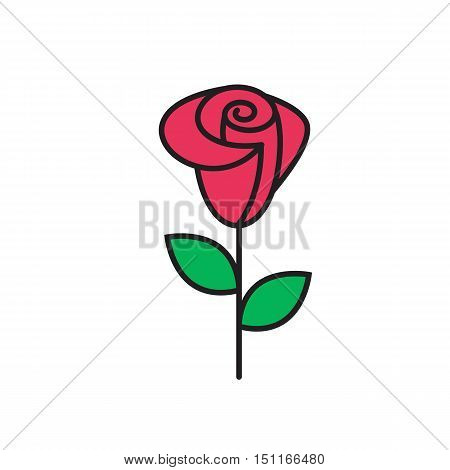 Universal Roser icon to use in web and mobile UI, ecology basic UI element. Silhouette rose icon. Rose icon isolated on white background.