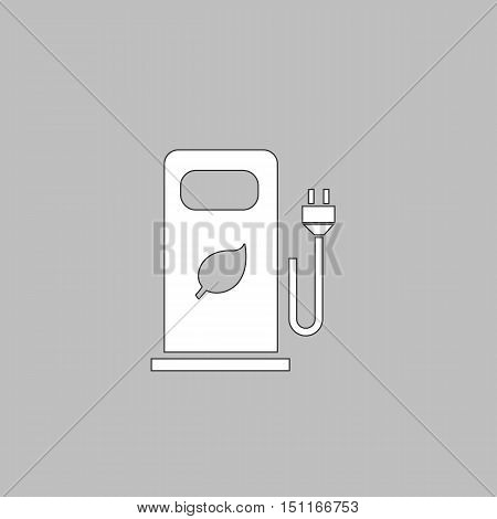 car charging station Simple line vector button. Thin line illustration icon. White outline symbol on grey background