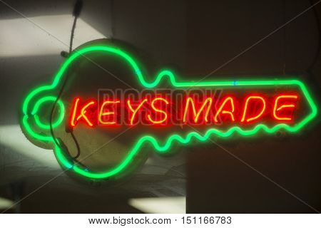 Neon sign colorful glowing bright key duplication made locksmith
