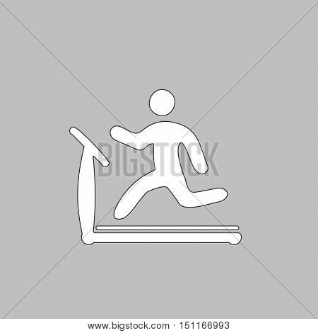 Treadmill Simple line vector button. Thin line illustration icon. White outline symbol on grey background