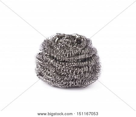 Kitchen new unused metal sponge isolated over white background