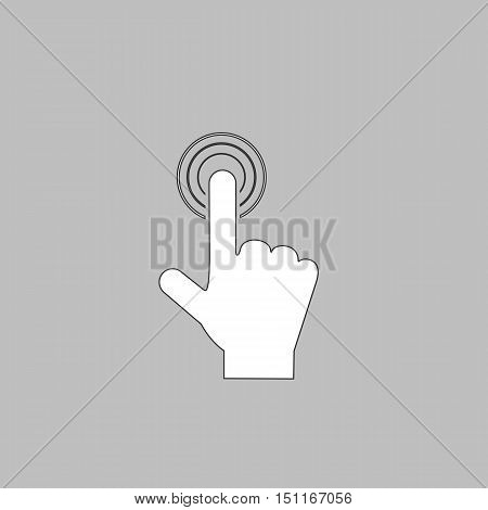 hand click Simple line vector button. Thin line illustration icon. White outline symbol on grey background