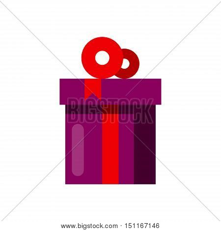 Purple celebration gift cardboard box with red bow vector illustration. Happy New year.