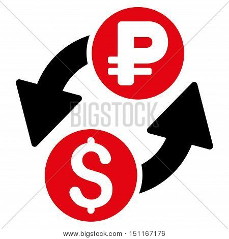 Dollar Rouble Exchange icon. Glyph style is bicolor flat iconic symbol with rounded angles intensive red and black colors white background.