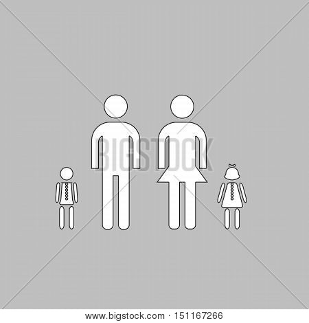 Happy Family Simple line vector button. Thin line illustration icon. White outline symbol on grey background