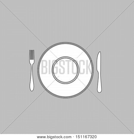 tableware Simple line vector button. Thin line illustration icon. White outline symbol on grey background
