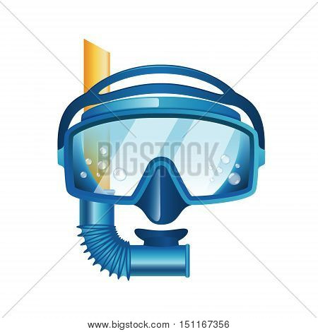 blue diving mask isolated on white background vector illustration