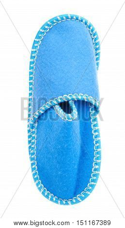 Pair of blue house slippers isolated over white background