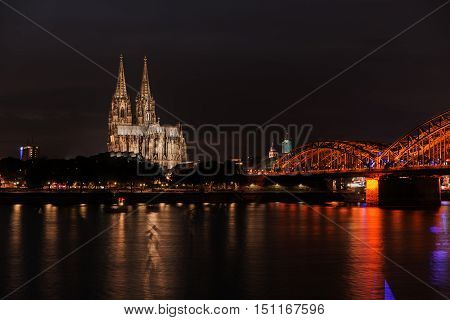 Illuminated Cologne Cathedral at night in Cologne
