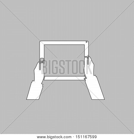 Hold Tablet Simple line vector button. Thin line illustration icon. White outline symbol on grey background