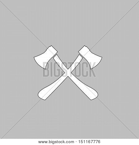 Two axes Simple line vector button. Thin line illustration icon. White outline symbol on grey background