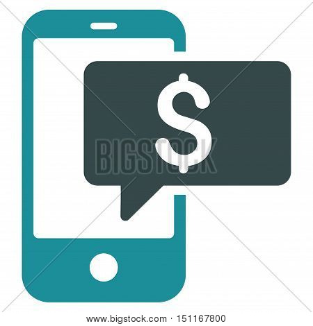 Money Phone SMS icon. Glyph style is bicolor flat iconic symbol with rounded angles soft blue colors white background.