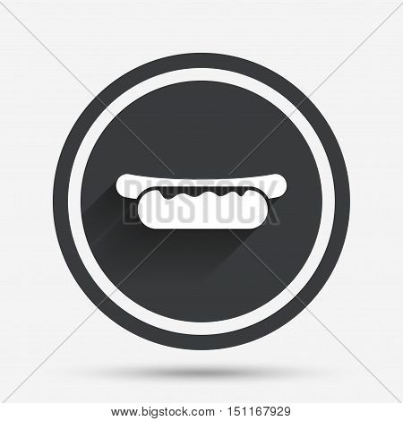 Hotdog sandwich with mustard icon. Sausage symbol. Fast food sign. Circle flat button with shadow and border. Vector