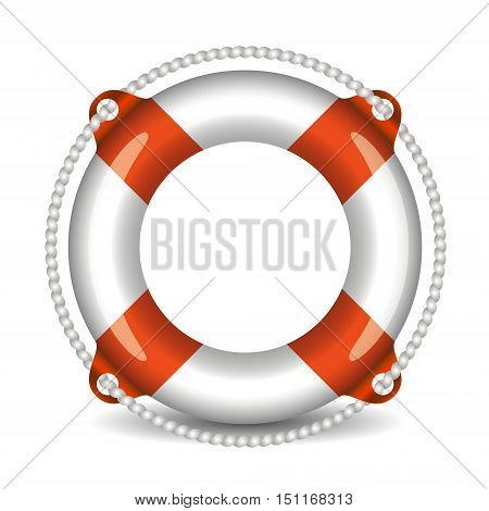 lifebuoy realistic icon isolated on white backgroun