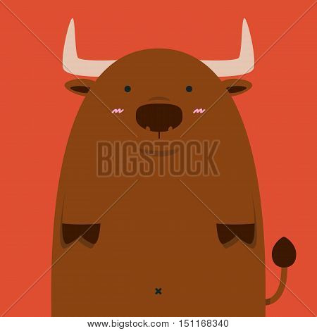 cute fat big Spain bull on red background