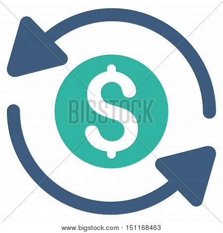 Money Turnover icon. Glyph style is bicolor flat iconic symbol with rounded angles cobalt and cyan colors white background.