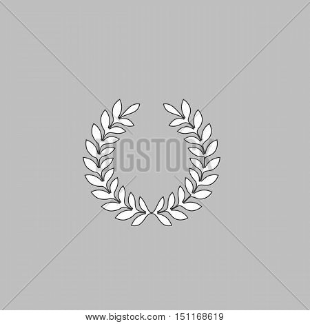 victory wreath Simple line vector button. Thin line illustration icon. White outline symbol on grey background