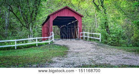 Sandy Creek Covered Bridge, Goldman, Missouri, Panorama