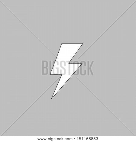 lighting bolt Simple line vector button. Thin line illustration icon. White outline symbol on grey background