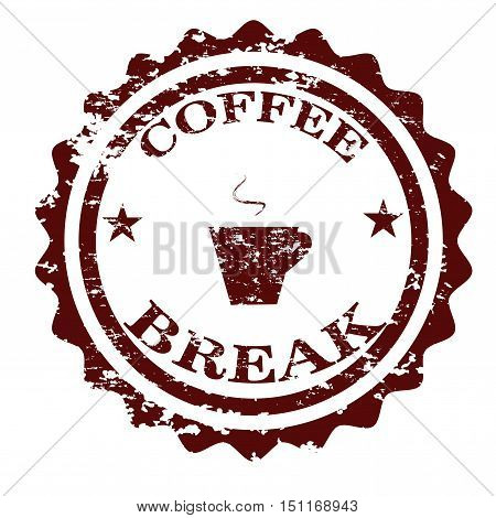 Coffee break stamp isolated on white background
