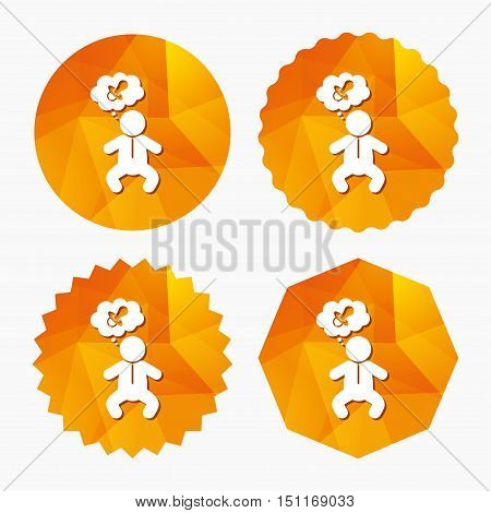 Baby infant think about pacifier nipple sign icon. Toddler boy in pajamas or crawlers body symbol. Triangular low poly buttons with flat icon. Vector