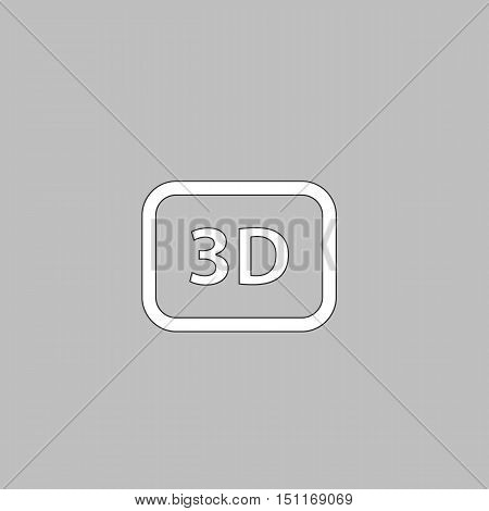 3D Simple line vector button. Thin line illustration icon. White outline symbol on grey background