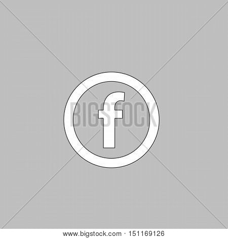 F Letter Simple line vector button. Thin line illustration icon. White outline symbol on grey background