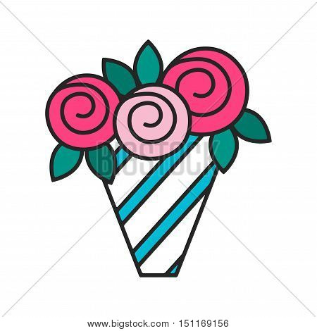 Bouquet of roses isolated on white background. Flat colored icon, object.