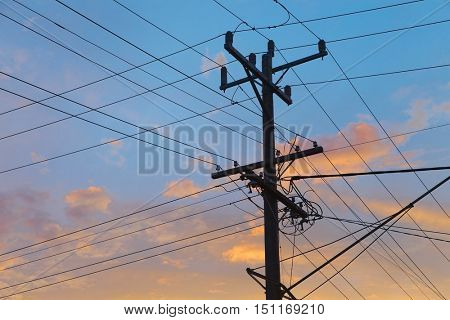 Electric lines in twilight