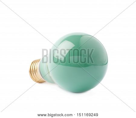 Single electric green bulb lying on its side, isolated over the white background