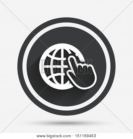 Internet sign icon. World wide web symbol. Cursor pointer. Circle flat button with shadow and border. Vector