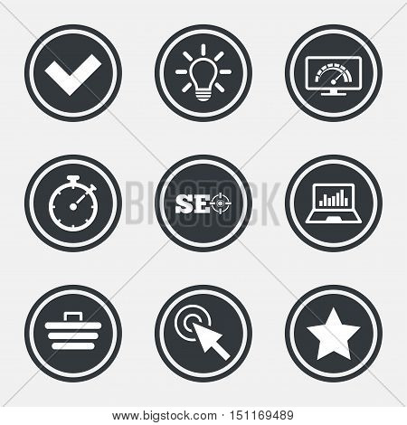 Internet, seo icons. Bandwidth speed, online shopping and tick signs. Favorite star, notebook chart symbols. Circle flat buttons with icons and border. Vector