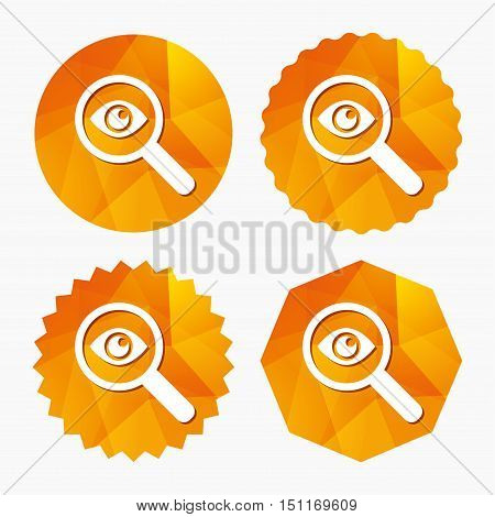 Investigate icon. Magnifying glass with eye symbol. Triangular low poly buttons with flat icon. Vector