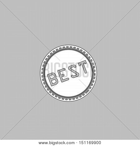 Best Simple line vector button. Thin line illustration icon. White outline symbol on grey background