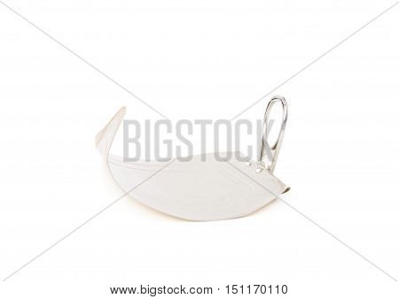 Cap of gray metal can isolated over white background