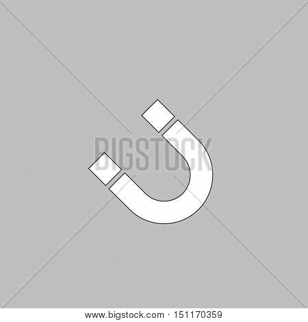 magnetism Simple line vector button. Thin line illustration icon. White outline symbol on grey background